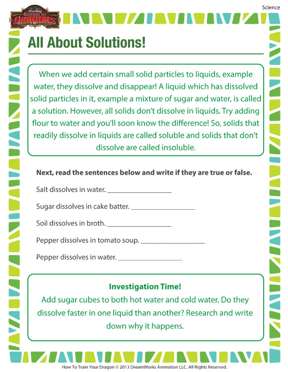 All About Solutions 4th Grade Science Printable