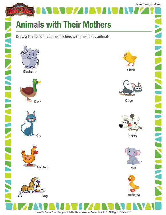 animals with their mothers worksheet 1st grade kids sod. Black Bedroom Furniture Sets. Home Design Ideas