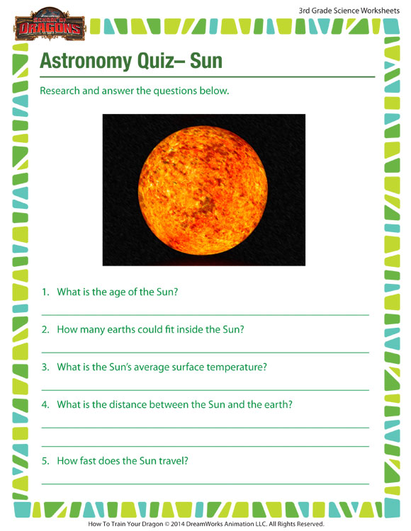 Astronomy Quiz Sun View 3rd Grade Kid Worksheets Sod
