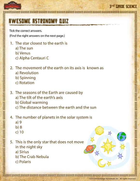 Awesome Astronomy Quiz View Science Activities 3rd Grade