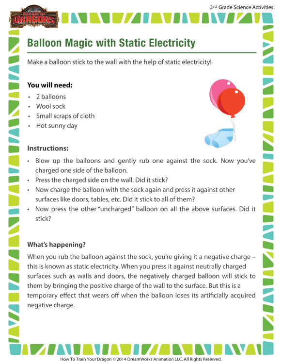 balloon magic with static electricity 3rd grade science activity school of dragons. Black Bedroom Furniture Sets. Home Design Ideas