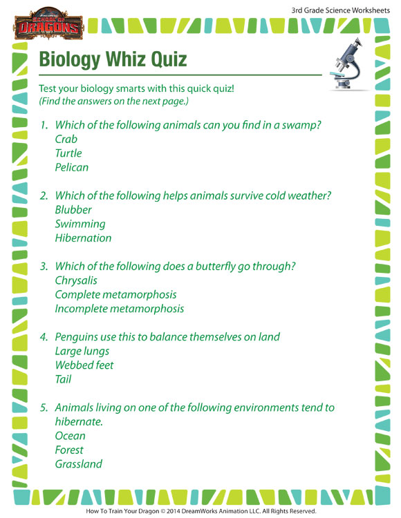 Biology Whiz Quiz View Worksheets Printable 3rd Grade