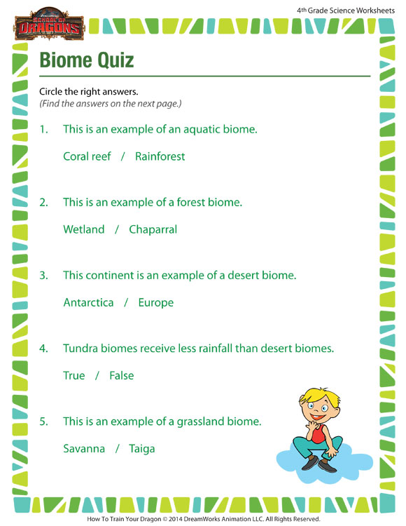 image about 4th Grade Trivia Questions and Answers Printable referred to as Biome Quiz Worksheet Science Printable for Quality 4 SoD