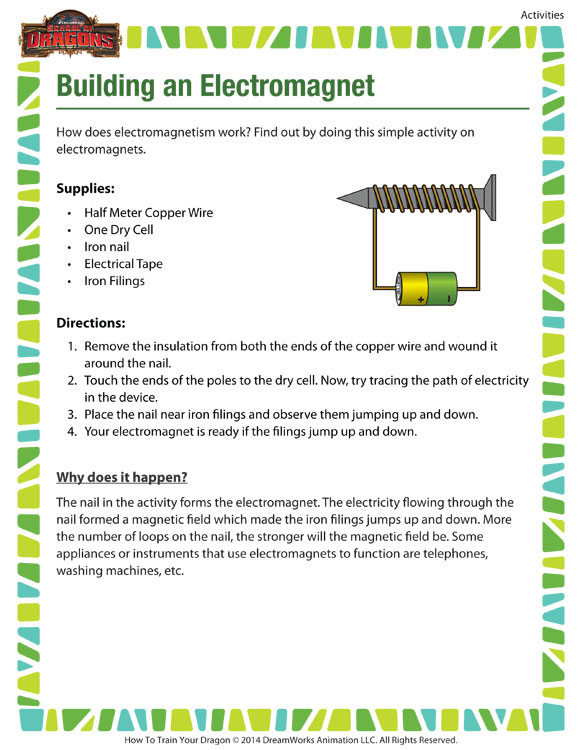Building An Electromagnet Cool Activity 6th Grade SoD
