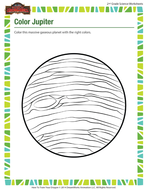 2nd Grade Science Worksheets Free Printables : Color jupiter worksheet online second grade science