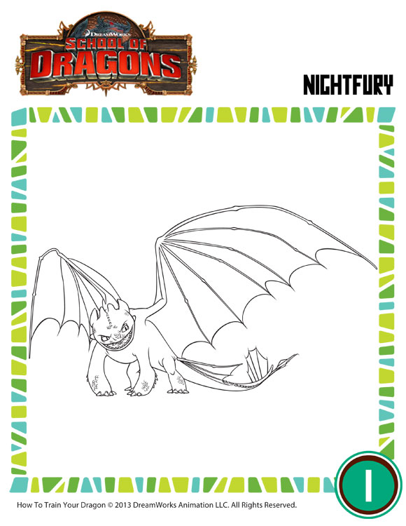 Color Night Fury 4 View - Free DreamWorks Dragons Coloring Page ...