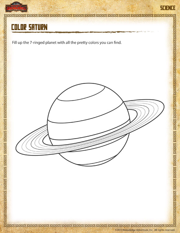 2nd Grade Science Worksheets Free Printables : Color saturn view free nd grade science worksheet