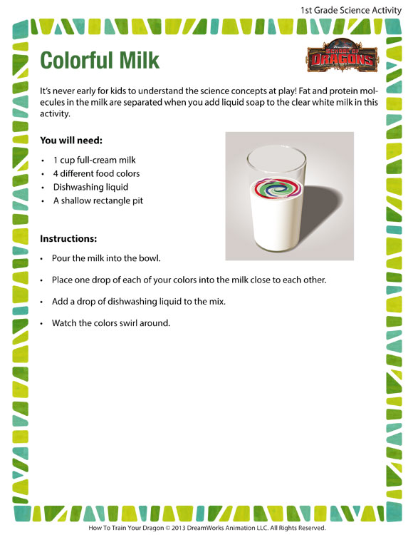 Colorful Milk Fun Science Activity For 1st Grade