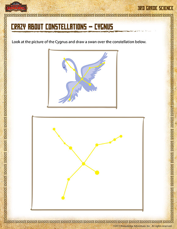 Crazy about Constellations – Cygnus - Printable Science Worksheets