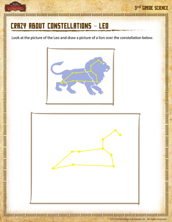 crazy about constellations leo view 3rd grade science worksheets online school of dragons. Black Bedroom Furniture Sets. Home Design Ideas