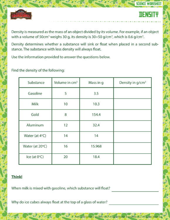 Density tower worksheet density view physical science worksheet for grade 6 ibookread PDF