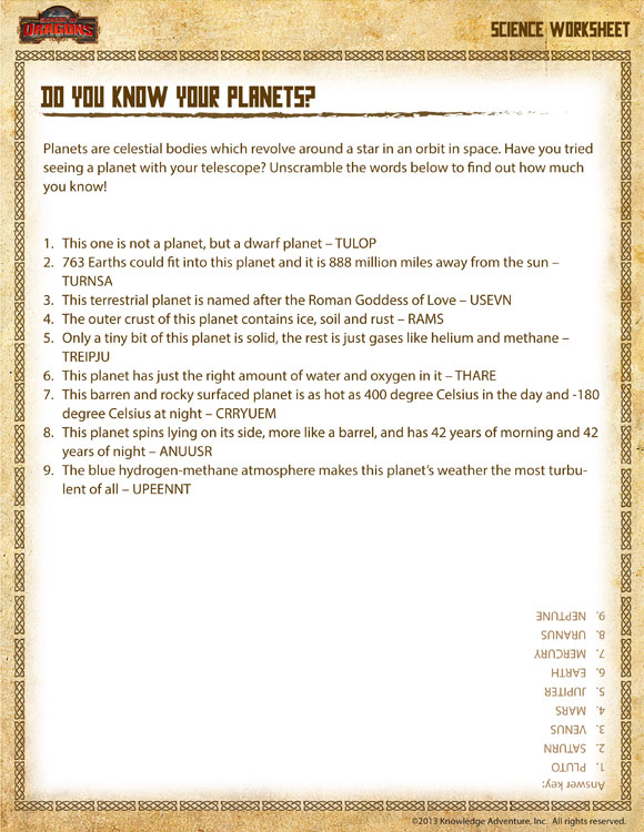 Do you Know Your Planets - Printable Science Worksheets