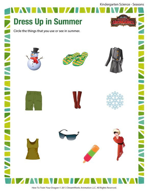 Dress Up in Summer Free Science Printable Worksheets and PDFs – Seasons Worksheet Kindergarten