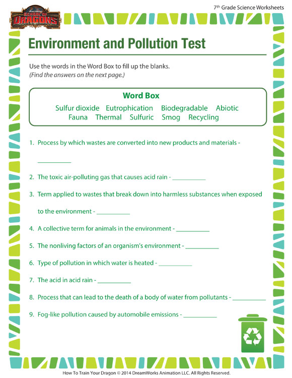 Environment & Pollution Worksheet – 7th Grade Printable – SoD
