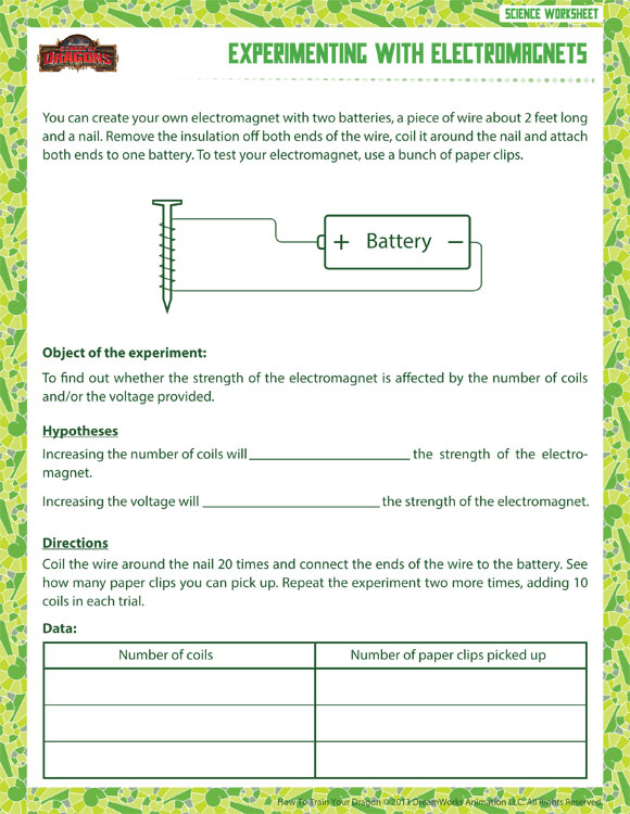 Experimenting with Electromagnets - Printable Science Worksheets