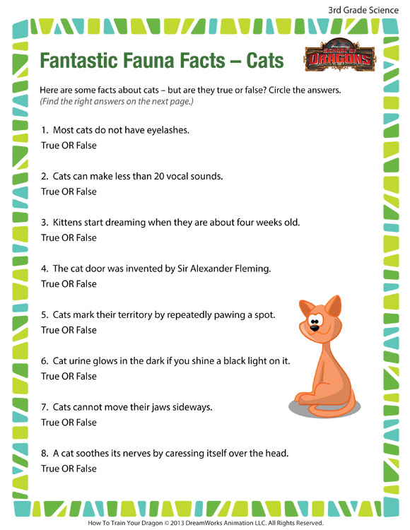 Check out fantastic fauna facts cats our free science worksheet