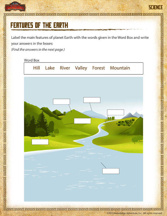 Features Of The Earth View 2nd Grade Science Worksheet Online