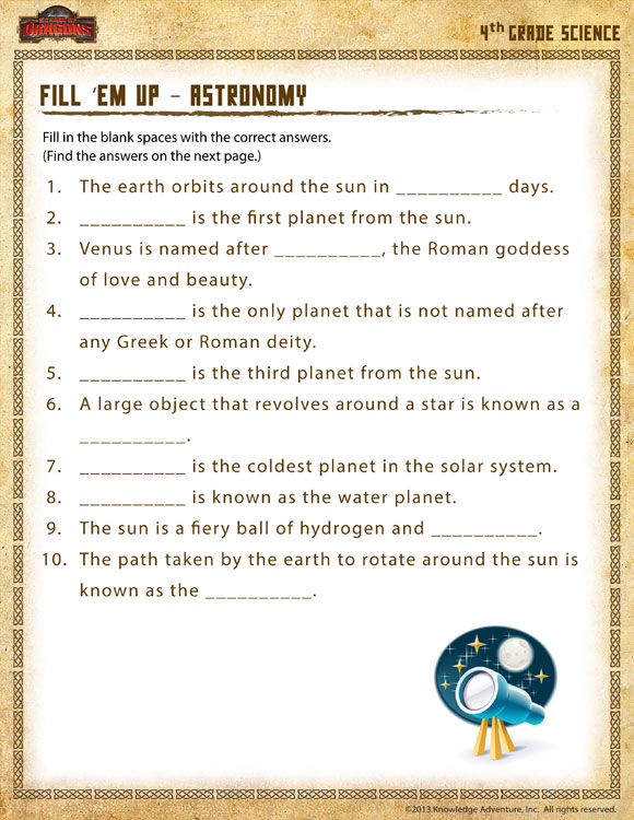 Fill 'em Up Astronomy View   4th Grade Science Worksheet   SoD