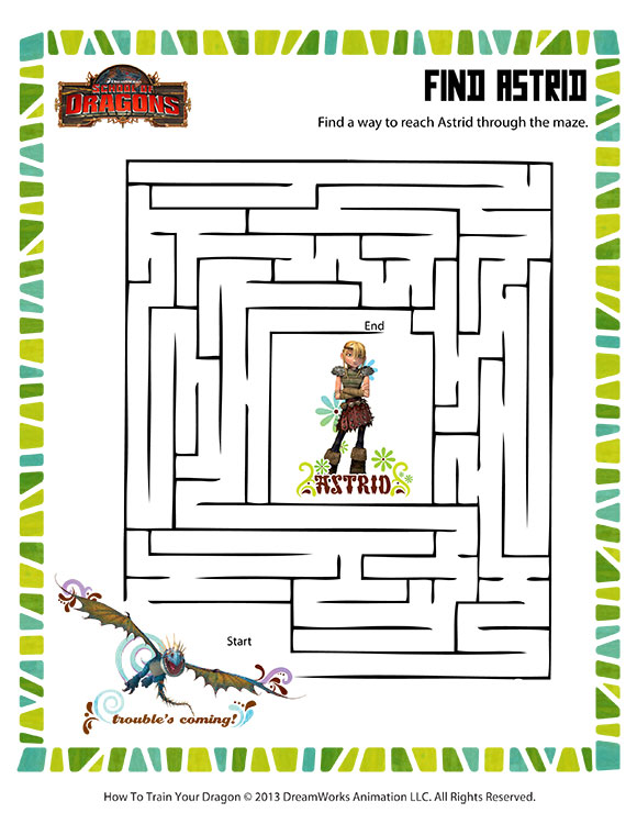 Find Astrid View Printable Dragon Maze Worksheets Sod