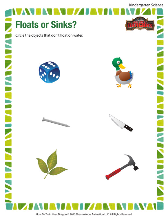 Floats or Sinks – Free Kindergarten Science Worksheets and Printables