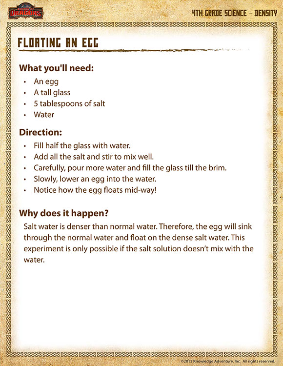 Check out floating an egg our free science experiments for fourth