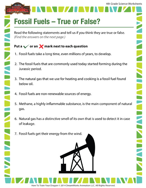 Fossil Fuels True Or False View Worksheet For 4th Grade