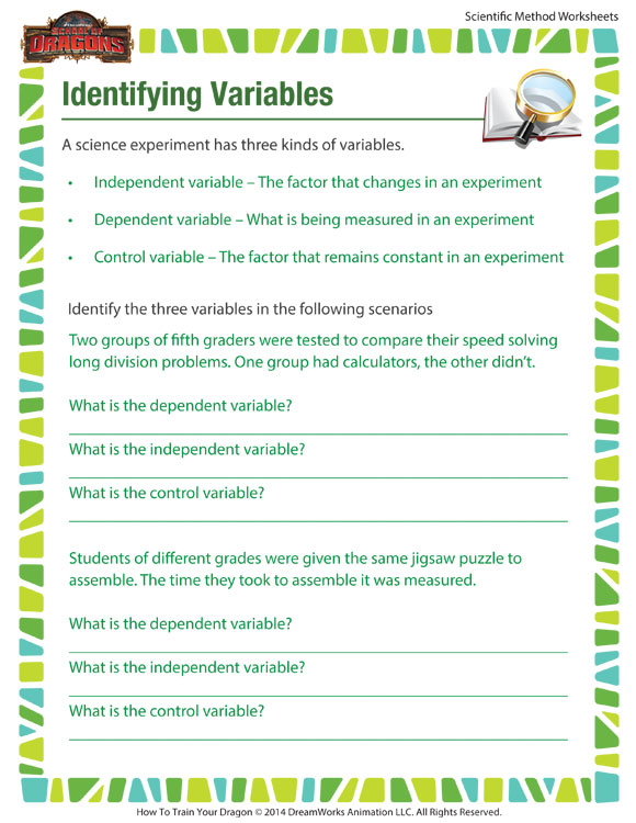 identifying variables worksheet free printable for the scientific method school of dragons. Black Bedroom Furniture Sets. Home Design Ideas