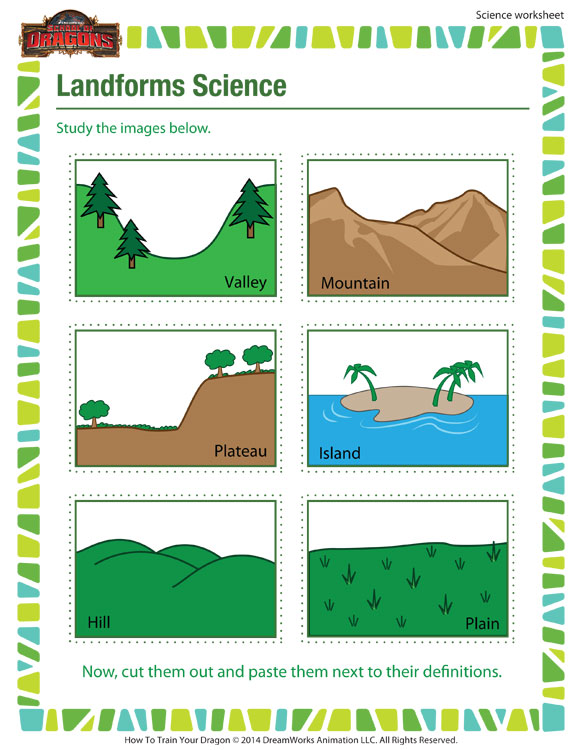 Worksheet Worksheets On Landforms landforms science 3rd grade worksheet school of dragons science