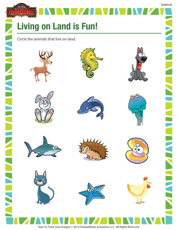 out 'Living on Land is Fun!', our free kindergarten science worksheet ...