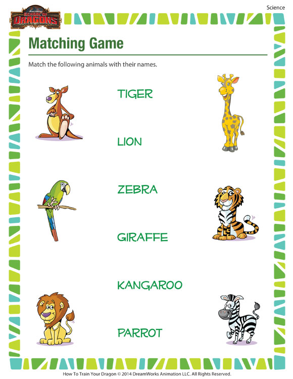 graphic regarding Animal Matching Game Printable known as Matching Recreation Kindergarten Science Worksheet Animal Names