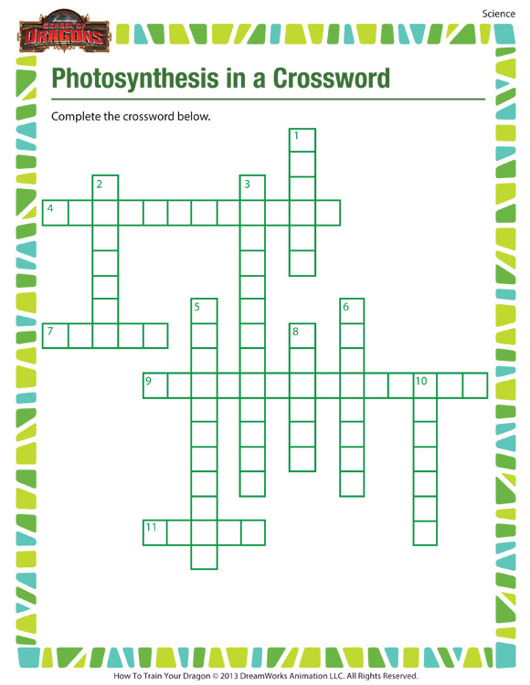 Photosynthesis in a Crossword - Printable science worksheets for 5th grade