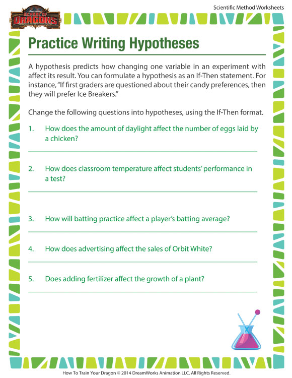 practice writing hypotheses worksheet scientific method printables for kids school of dragons. Black Bedroom Furniture Sets. Home Design Ideas