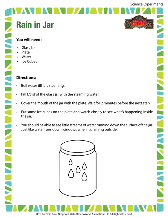 Rain In A Jar Free Printable Science Experiments For Kids