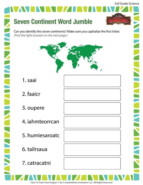 graphic relating to Printable Jumble named 7 Continent Phrase Jumble Opinion 3rd Quality Worksheet SoD