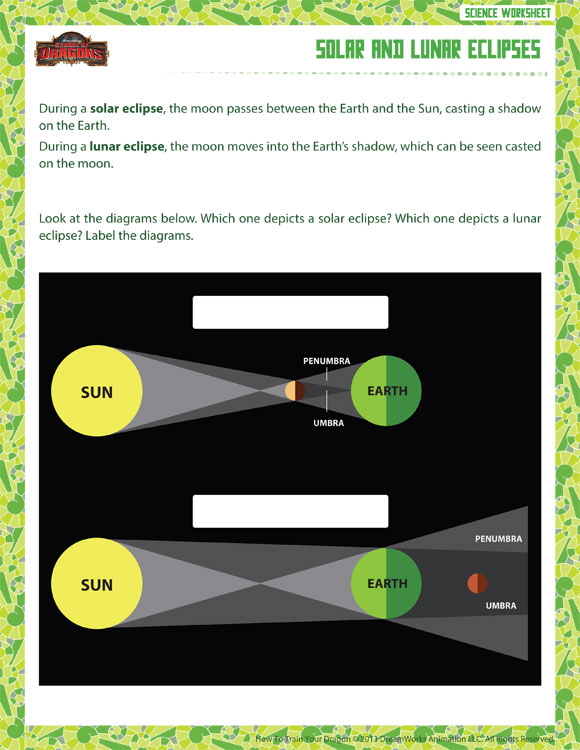 Solar and Lunar Eclipses - Printable Science Worksheets