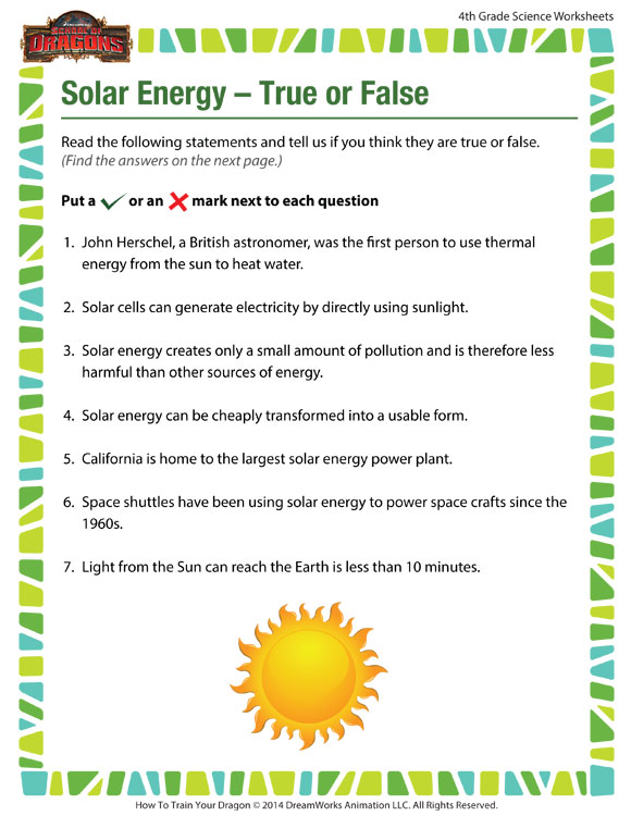 Solar Energy True or False View – 4th Grade Worksheet - SoD