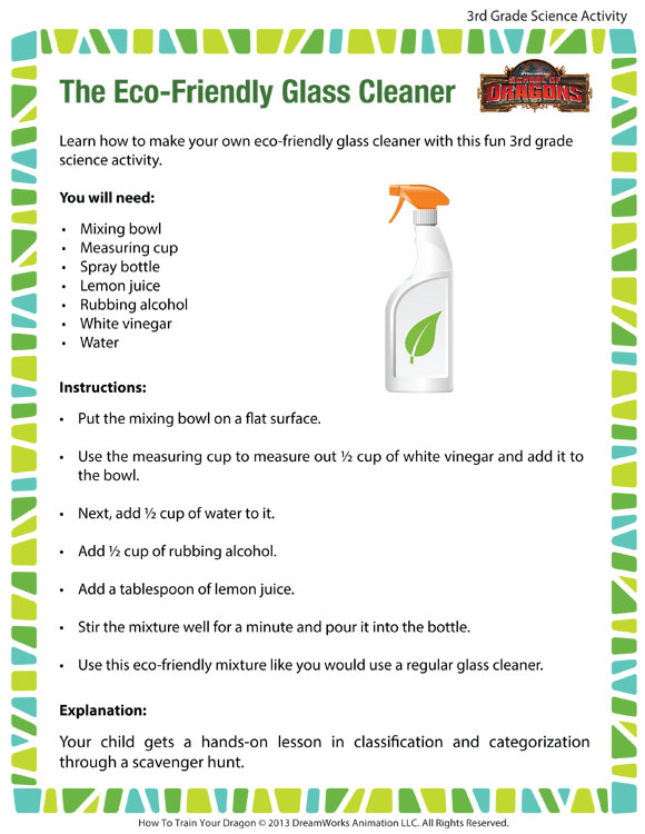 The Eco-Friendly Glass Cleaner - Printable Science Activity for 3rd Grade