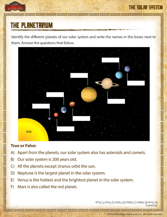 The Planetarium Solar System Worksheet For 1st Grade School Of