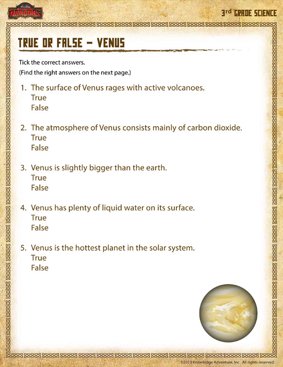 ... Venus View – 3rd Grade Science Worksheets Free – School of Dragons