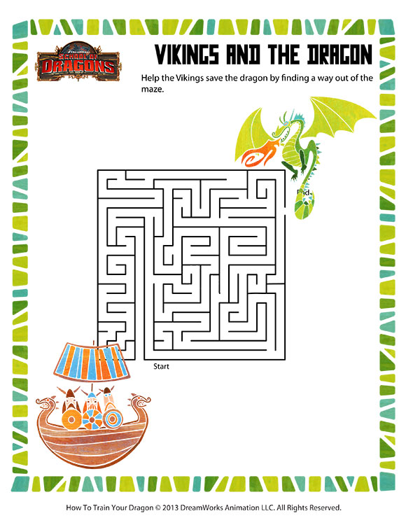 photograph about Printable Vikings Schedule referred to as Vikings and the Dragon Impression Printable Mazes for Small children