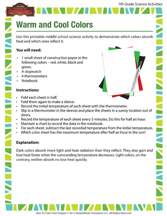 Cool Colors Worksheet : Warm and cool colors view middle school science