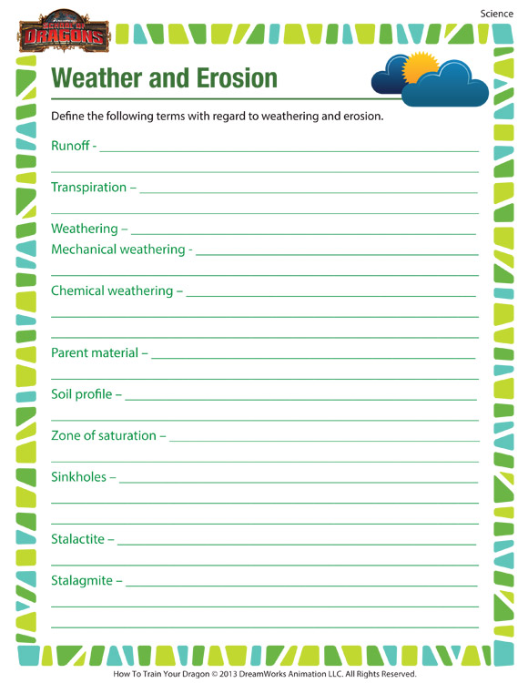 Weather and Erosion – Science Worksheet for 6th Grade