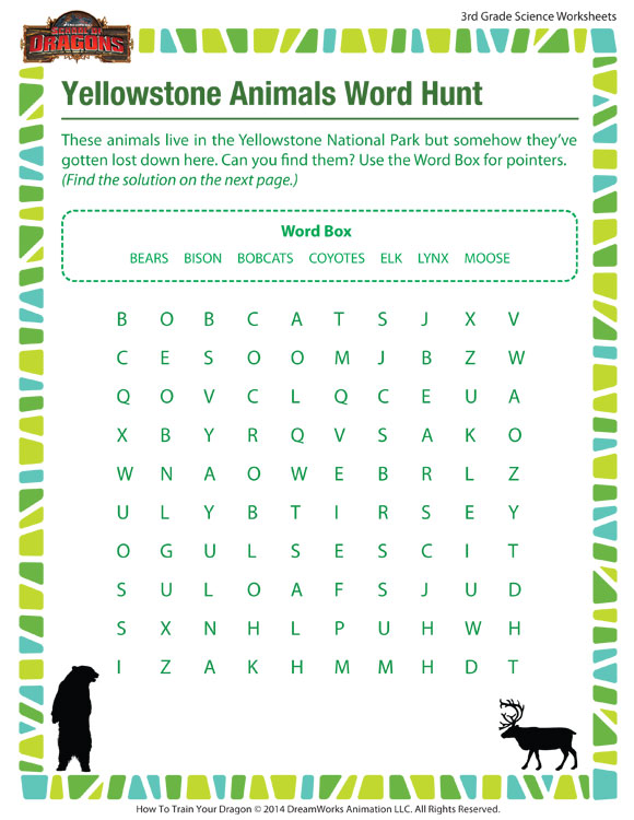 Yellowstone Animals Word Hunt View Worksheets 3rd Grade