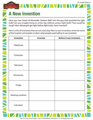 A New Invention - 1st Grade Online Science Worksheets - SoD