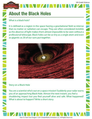 about the black holes free printable science worksheet for 5th grade school of dragons. Black Bedroom Furniture Sets. Home Design Ideas