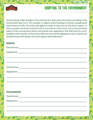Printables Science Worksheets For 6th Grade adapting to the environment life science worksheet for grade 6 printable 6th worksheet