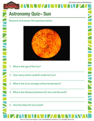 ... Quiz – Sun - Printable 3rd Grade Science Worksheet for Astronomy
