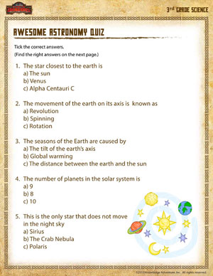 Awesome Astronomy Quiz – Online Science Activities for 3rd Graders ...