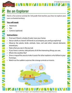 Download 'Be an Explorer' - 3rd grade science activity
