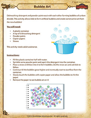 Bubble Art - Printable 3rd Grade Science Activity
